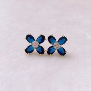 Tory Burch Buddy Blue Crystal Clover Earrings